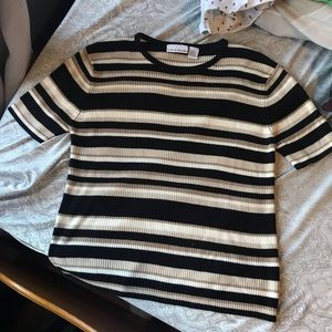 Contrasting tan and black striped ribbed top